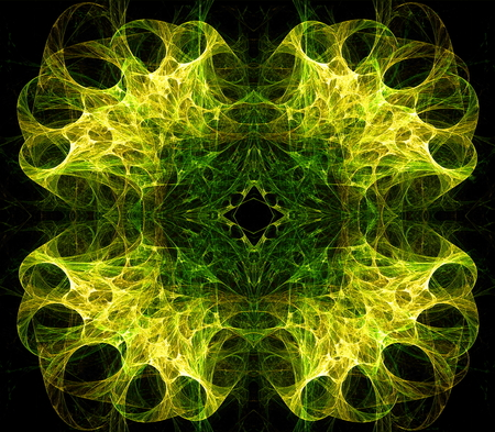 different directions: Translucent symmetric nebula complex structured, bubbles and flows in different directions . Fractal art graphics.