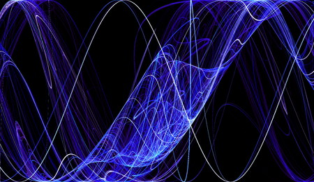 cobweb: Cobweb whirls abstract blue color symmetric swirl on the basis of the black. Fractal art graphics. Stock Photo