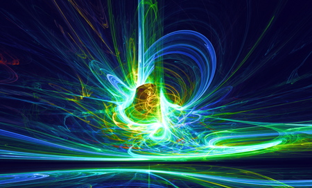 bolid: Mysterious alien form magnetic fields in the dark night sky. Fractal art graphics.