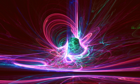 bolid: Mysterious alien form colorfull  magnetic fields in the dark night sky. Fractal art graphics. Stock Photo