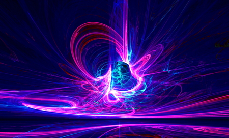 Mysterious alien form ultraviolet magnetic fields in the dark night sky. Fractal art graphics.