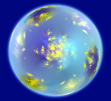 atmosphere: Abstract sphere resembling Earth planet with an atmosphere in space. Fractal art graphics.