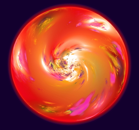 atmosphere: Abstract sphere resembling red planet with atmosphere in space. Fractal art graphics. Stock Photo