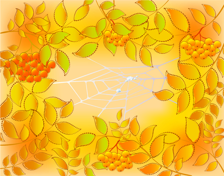 dew: Background of autumn leaves, rowan and web with dew drops. EPS10 vector illustration. Illustration