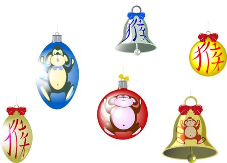 hieroglyph: Set of Christmas tree balls and a bell with a monkey and hieroglyph. Translation of hieroglyph - monkey.