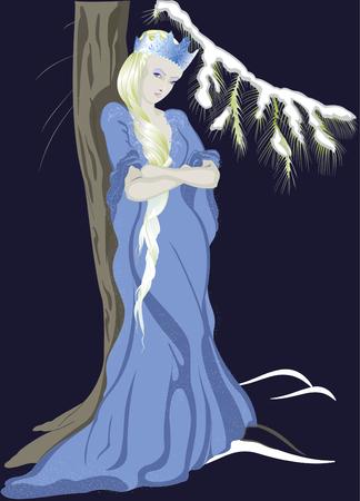 snow queen: The Snow Queen near a Christmas tree.