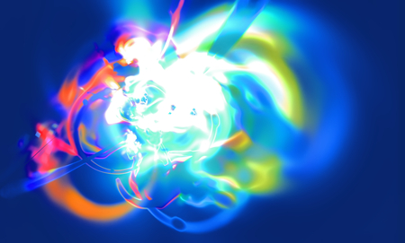 unstable: Abstract blurred scene depicting an astronomical nebula magnetic storm on unstable blue supernova. Fractal art graphics.