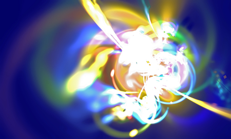 unstable: Abstract blurred scene depicting an astronomical nebula magnetic storm on an unstable yellow supernova. Fractal art graphics.
