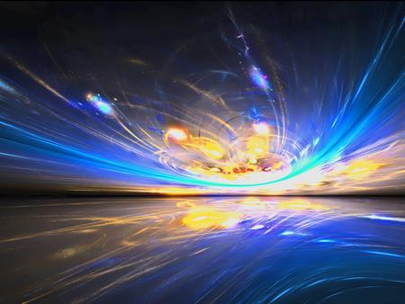 Misteriosa vista del tramonto alieno nel misterioso mondo abitato. Grafica d'arte frattale.