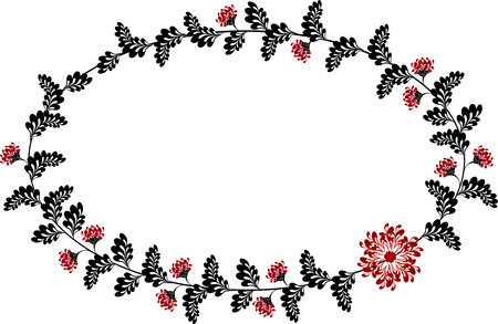 ellipse: Frame with red and black flowers in the shape of an ellipse.   vector illustration.