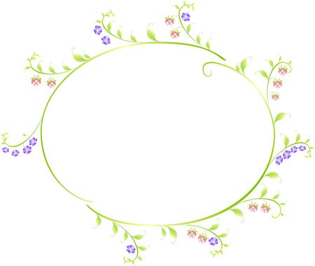 ellipse: Frame in the shape of an ellipse of berries and flowers.   vector illustration. Illustration