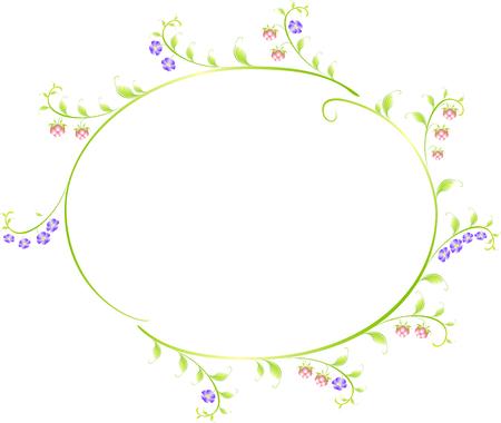 elipse: Marco en forma de una elipse de bayas y flores. ilustraci�n vectorial.
