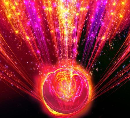 emanation: Shining big fantastic radial blast red tint with magic ball. Fractal art graphics.
