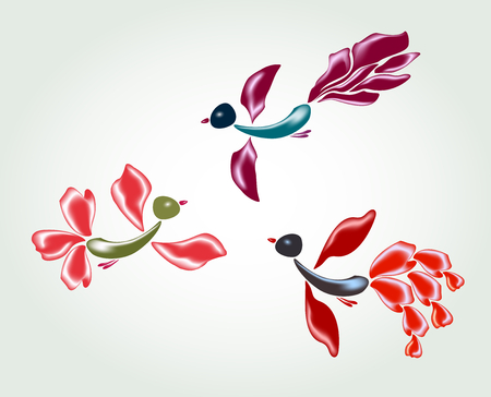 fanny: Fanny fairy glass birds and flowers vector illustration.
