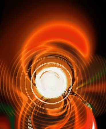 disorderly: Abstract figure from spirals, orange waves and plasma. Fractal art graphics.