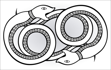 legend: Decorative ethnic pattern in style of the legend of Indian and Northern Russian populations of stylized snakes chase each other. EPS10 vector illustration