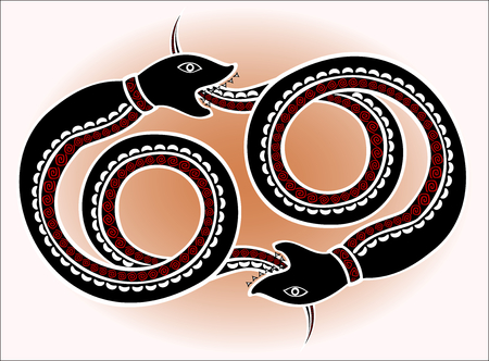 legend: Decorative ethnic pattern in style of the legend of Indian and Northern Russian populations of stylized  black snakes chase each other. EPS10 vector illustration