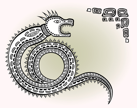 legend: Decorative ethnic pattern in style of the legend of Indian and Northern Russian populations of stylized snake. EPS10 vector illustration
