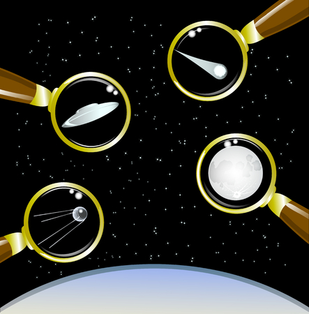 pulsar: Set of space objects . Illustration