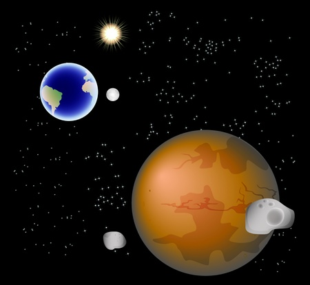 cosmo: Abstract background with Mars, its satellites, earth, moon and sun.