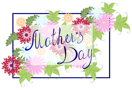 typographical: Happy Mothers Typographical Background With colorful Flowers.