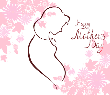 expectant: Silhouette of expectant mother with text for Happy Mothers Day celebration. Illustration