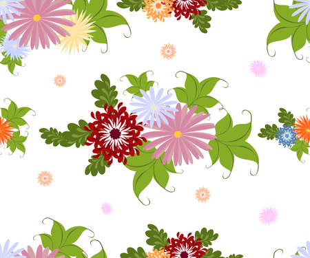 Vector seamless pattern with flowers on a homogeneous black background.EPS10 illustration.