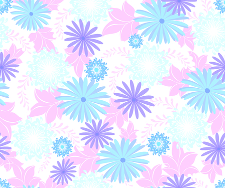 Seamless pattern with flowers cool blue shades on a homogeneous light background. EPS10 vector illustration.