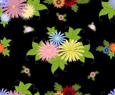 Seamless pattern with bright multicolored flowers on a homogeneous black background. EPS10 vector illustration.