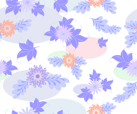petal: Seamless background with blue flowers and ellipses on a uniform white background. EPS10 vector illustration.
