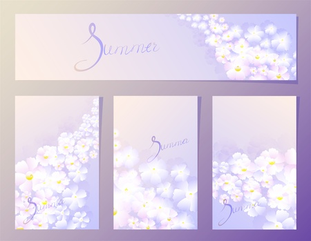 fourth birthday: Summer organic floral pattern in the fourth frame in lilac tones. EPS10 vector illustration