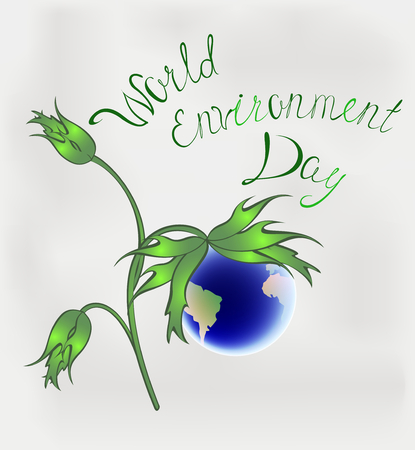 World environment day. Earth in the form of a flower. EPS10 vector illustration
