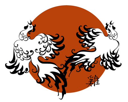 Two decorative cocks as the symbol of new year 2017 in the backdrop of the setting sun. EPS10 vector illustration