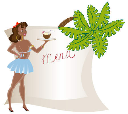 sexy umbrella: Menu with the waitress, exotic cocktail from a coconut with a palm tree. EPS10 vector illustration Illustration