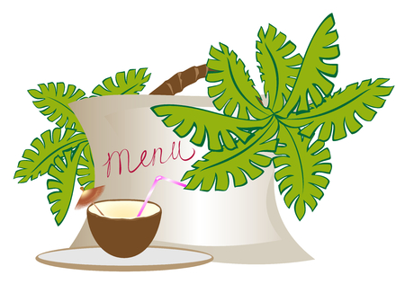 Menu with an exotic cocktail in a coconut with a palm tree and flowers. EPS10 vector illustration