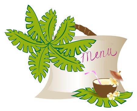 Menu with exotic coconut cocktail and palm. EPS10 vector illustration