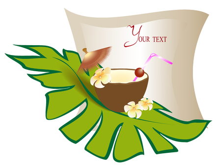 Banner for menu with an exotic cocktail in a coconut with a palm leaf. EPS10 vector illustration