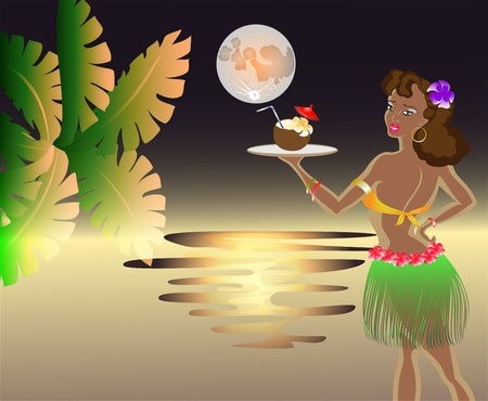Sunset on the sea with the moon with the waitress with an exotic cocktail in a coconut with a palm leaf. EPS10 vector illustration