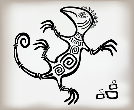 Fun decorative lizard ornament in an old ethnic style. Illustration