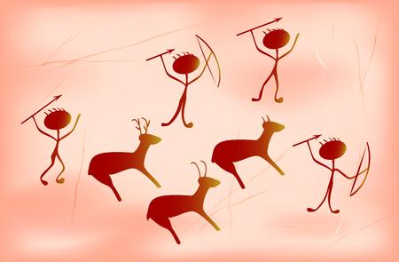 Estilización para pintura primitiva prehistórica que muestra afortunados cazadores y animales antiguos. Ilustración vectorial EPS10. Ilustración de vector