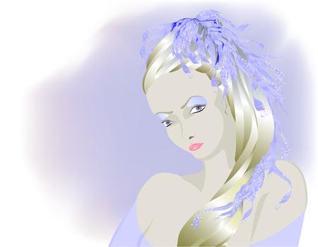 Fairy light albino girl, Snow Queen. EPS10 vector illustration