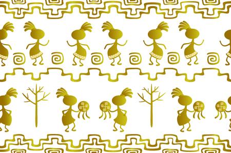 Naadloos patroon in de etnische stijl van oude Amerikaanse Indianen met scènes van rituele dansen van oude shamans. EPS10 vector illustratie