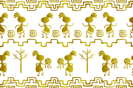 Seamless pattern in the ethnic style of ancient American Indians with scenes of ritual dances of ancient shamans. EPS10 vector illustration Illusztráció