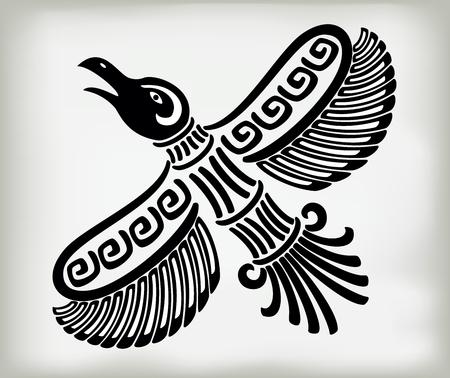 国民パターンと古代アメリカインディアンの民族様式の装飾的な様式化された鳥のカラス。EPS10 ベクトル図