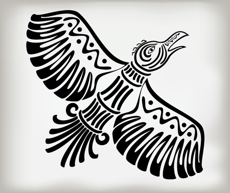 Decorative stylized bird crows in the ethnic style of ancient American Indians with national pattern. EPS10 vector illustration