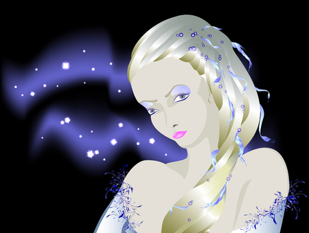 Fabulous light albino girl against the background of the night sky, Snow Queen during the polar night. EPS10 vector illustration