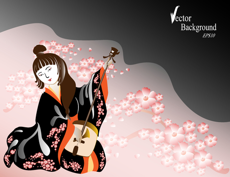 A Japanese woman in a kimono plays a national musical instrument in cherry twigs. EPS10 vector illustration.
