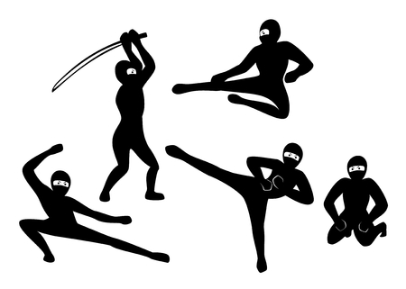blade: Set of black silhouette ninjas on white background. EPS10 vector illustration.