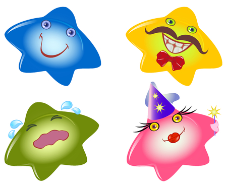 Set of funny smileys in the form stars. Emotions and mood. EPS10 vector illustration