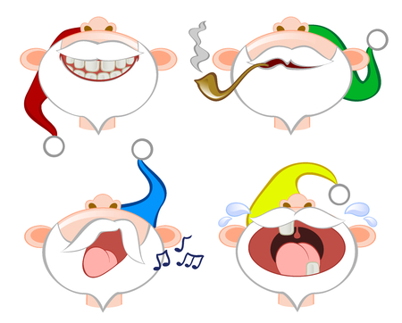 Set of funny emoticons colorful santa clauses vector illustration